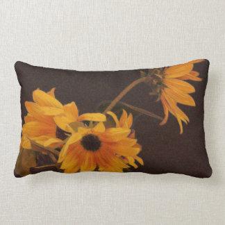 Yellow sunflowers on chocolate background lumbar pillow