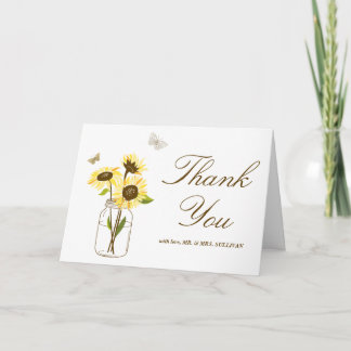 Yellow Sunflowers on Mason Jar Wedding Thank You