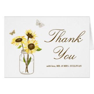 Yellow Sunflowers on Mason Jar Wedding Thank You
