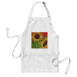 Yellow Sunflowers on Red Adult Apron