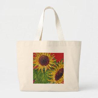 Yellow Sunflowers on Red Jumbo Tote Bag