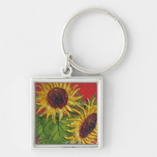 Yellow Sunflowers on Red Key Chain