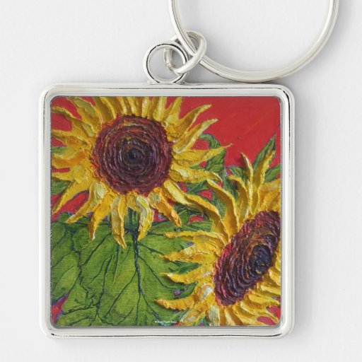 Yellow Sunflowers on Red Keychain