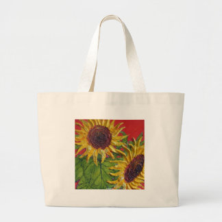 Yellow Sunflowers on Red Large Tote Bag