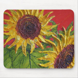 Yellow Sunflowers on Red Mouse Pad