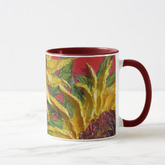 Yellow Sunflowers on Red Mug