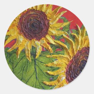 Yellow Sunflowers on Red Sticker