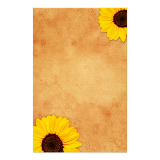 Yellow sunflowers on stained old paper stationery