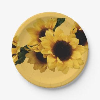 Yellow Sunflowers Paper Plate