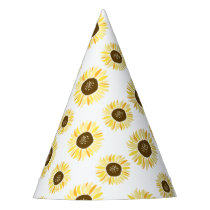Yellow Sunflowers Pattern Floral Party Hat