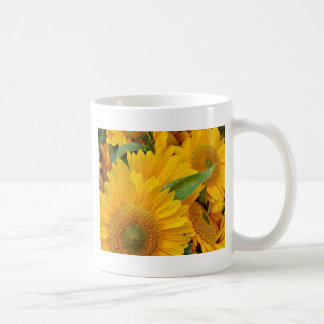 Yellow sunflowers print coffee mug