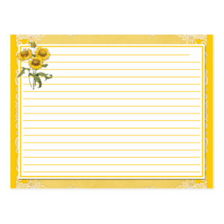 Yellow Sunflowers Recipe Cards