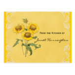 Yellow Sunflowers Recipe Cards Post Card