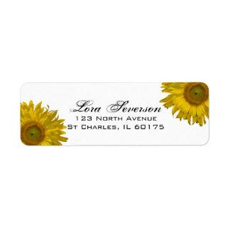 Yellow Sunflowers Return Address Label