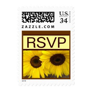 Yellow Sunflowers RSVP Wedding Stamp V02