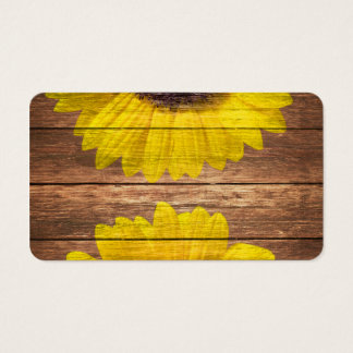 Yellow Sunflowers Rustic Vintage Brown Wood Business Card