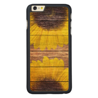 Yellow Sunflowers Rustic Vintage Brown Wood Carved® Maple iPhone 6 Plus Case
