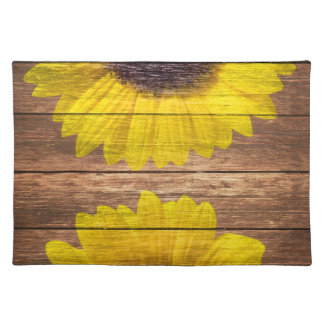 Yellow Sunflowers Rustic Vintage Brown Wood Cloth Placemat