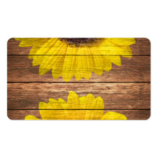 Yellow Sunflowers Rustic Vintage Brown Wood Double-Sided Standard Business Cards (Pack Of 100)