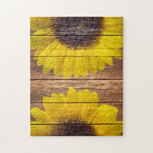 Yellow Sunflowers Rustic Vintage Brown Wood Jigsaw Puzzle ...