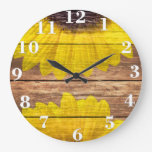 Yellow Sunflowers Rustic Vintage Brown Wood Large Clock