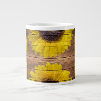 Yellow Sunflowers Rustic Vintage Brown Wood Large Coffee Mug