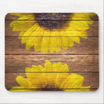 "Yellow Sunflowers Rustic Vintage Brown Wood Mouse Pad<br><div class=""desc"">a country ,  vintage yellow sunflowers on a stylish rustic barn brown wood  featuring two bright yellow,  orange sunflowers painted on a vintage and rustic brown striped wood background. Perfect for anyone who loves floral themes,  flowers and wood.</div>"
