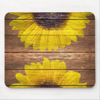 Yellow Sunflowers Rustic Vintage Brown Wood Mouse Pad