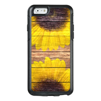Yellow Sunflowers Rustic Vintage Brown Wood OtterBox iPhone 6/6s Case
