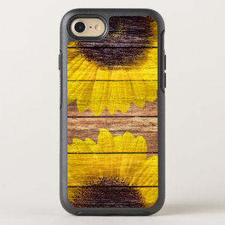 Yellow Sunflowers Rustic Vintage Brown Wood OtterBox Symmetry iPhone 7 Case