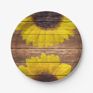 Yellow Sunflowers Rustic Vintage Brown Wood Paper Plate