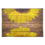 Yellow Sunflowers Rustic Vintage Brown Wood Placemat