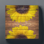 "Yellow Sunflowers Rustic Vintage Brown Wood Plaque<br><div class=""desc"">a country ,  vintage yellow sunflowers on a stylish rustic barn brown wood  featuring two bright yellow,  orange sunflowers painted on a vintage and rustic brown striped wood background. Perfect for anyone who loves floral themes,  flowers and wood.</div>"