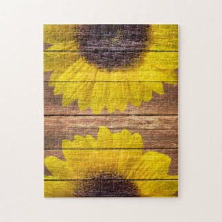 Yellow Sunflowers Rustic Vintage Brown Wood Jigsaw Puzzles