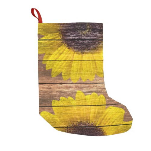 Yellow Sunflowers Rustic Vintage Brown Wood Small Christmas Stocking