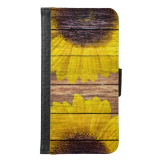 Yellow Sunflowers Rustic Vintage Brown Wood Wallet Phone Case For Samsung Galaxy S6