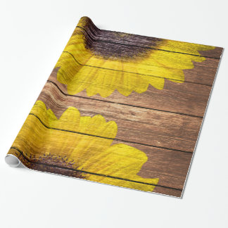 Yellow Sunflowers Rustic Vintage Brown Wood Wrapping Paper