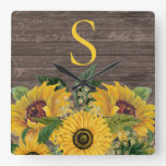 Yellow Sunflowers Rustic Wood Country Monogram Square Wall Clock