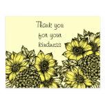 Yellow Sunflowers Thank You Postcard