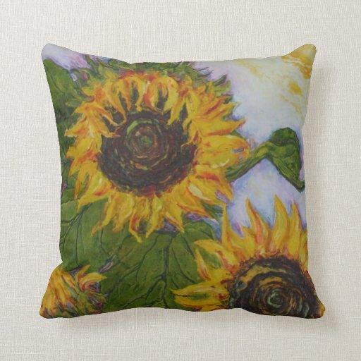 Yellow Sunflowers Throw Pillow Zazzle