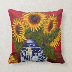 Yellow Sunflowers Throw Pillow