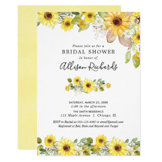 Yellow sunflowers watercolor bridal shower invitation