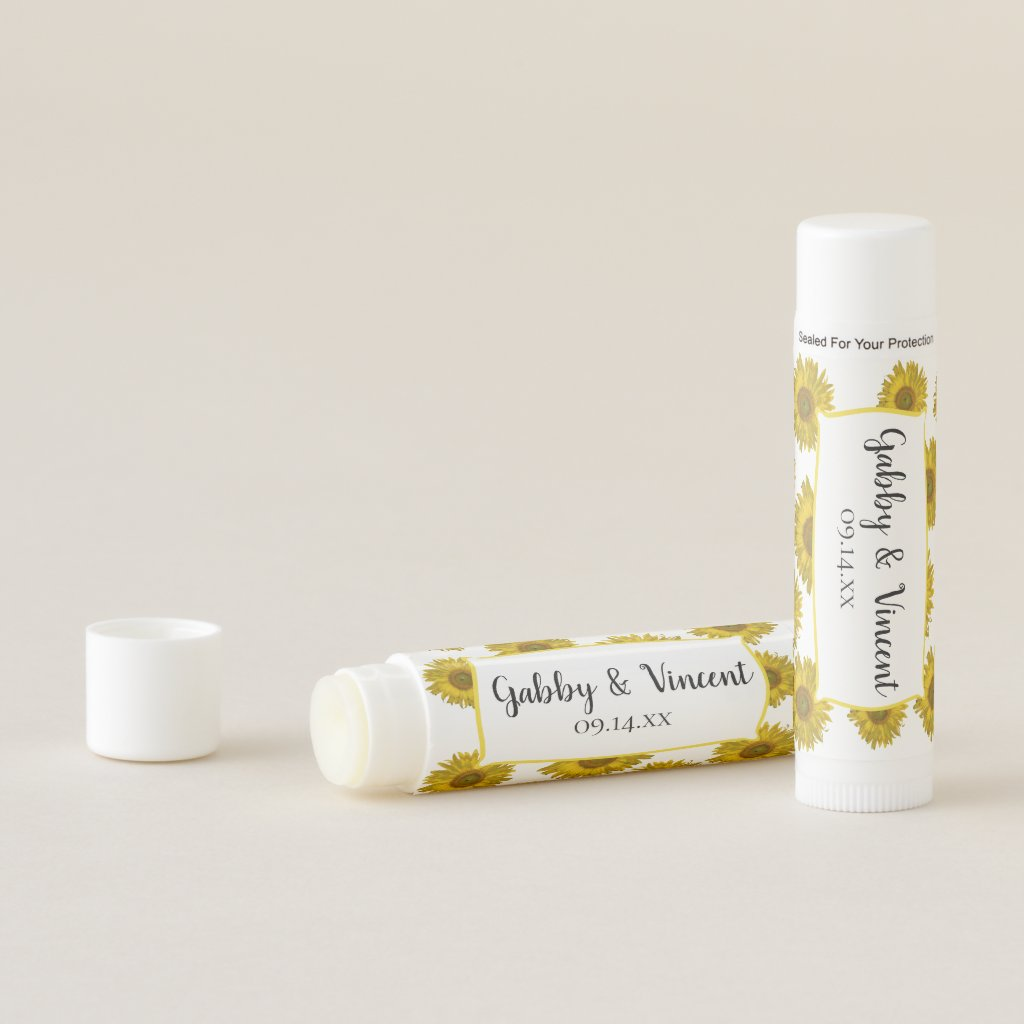 Yellow Sunflowers Wedding Favor Lip Balm