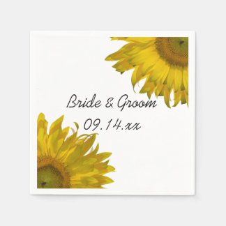 Yellow Sunflowers Wedding Paper Napkins