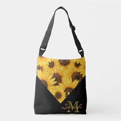 Yellow Sunflowers With Monogram Crossbody Bag