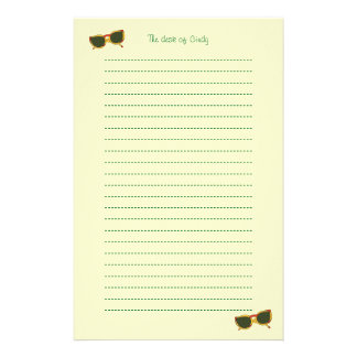 Yellow Sunglasses Lined Stationery