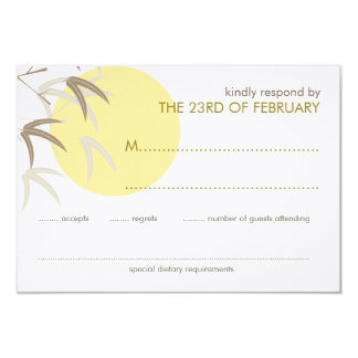 Yellow Sunrise Bamboo Zen Oriental RSVP Card