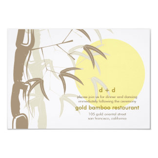 Yellow Sunrise Bamboo Zen Wedding Reception Card