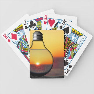 Yellow Sunrise Through a Lightbulb Modern Energy C Bicycle Playing Cards