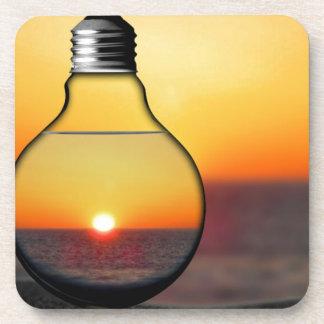 Yellow Sunrise Through a Lightbulb Modern Energy C Drink Coaster
